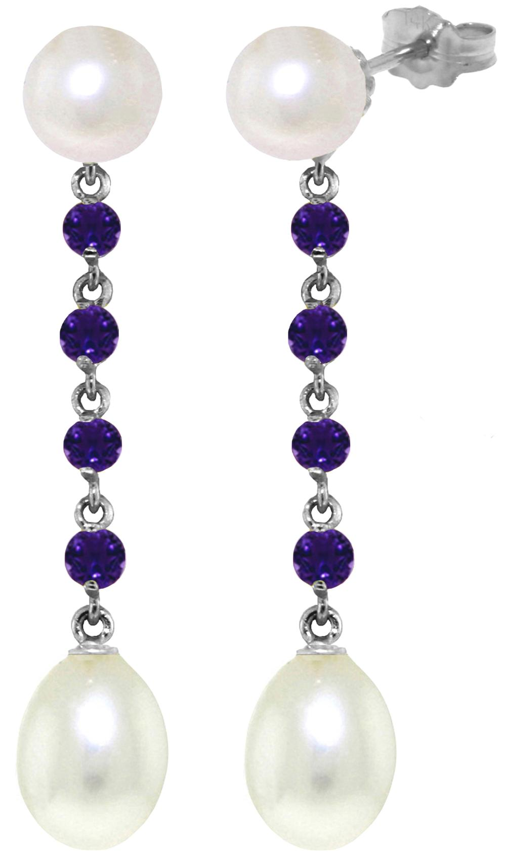 Genuine 11 ctw Pearl & Amethyst Earrings Jewelry 14KT White Gold - REF-28P8H