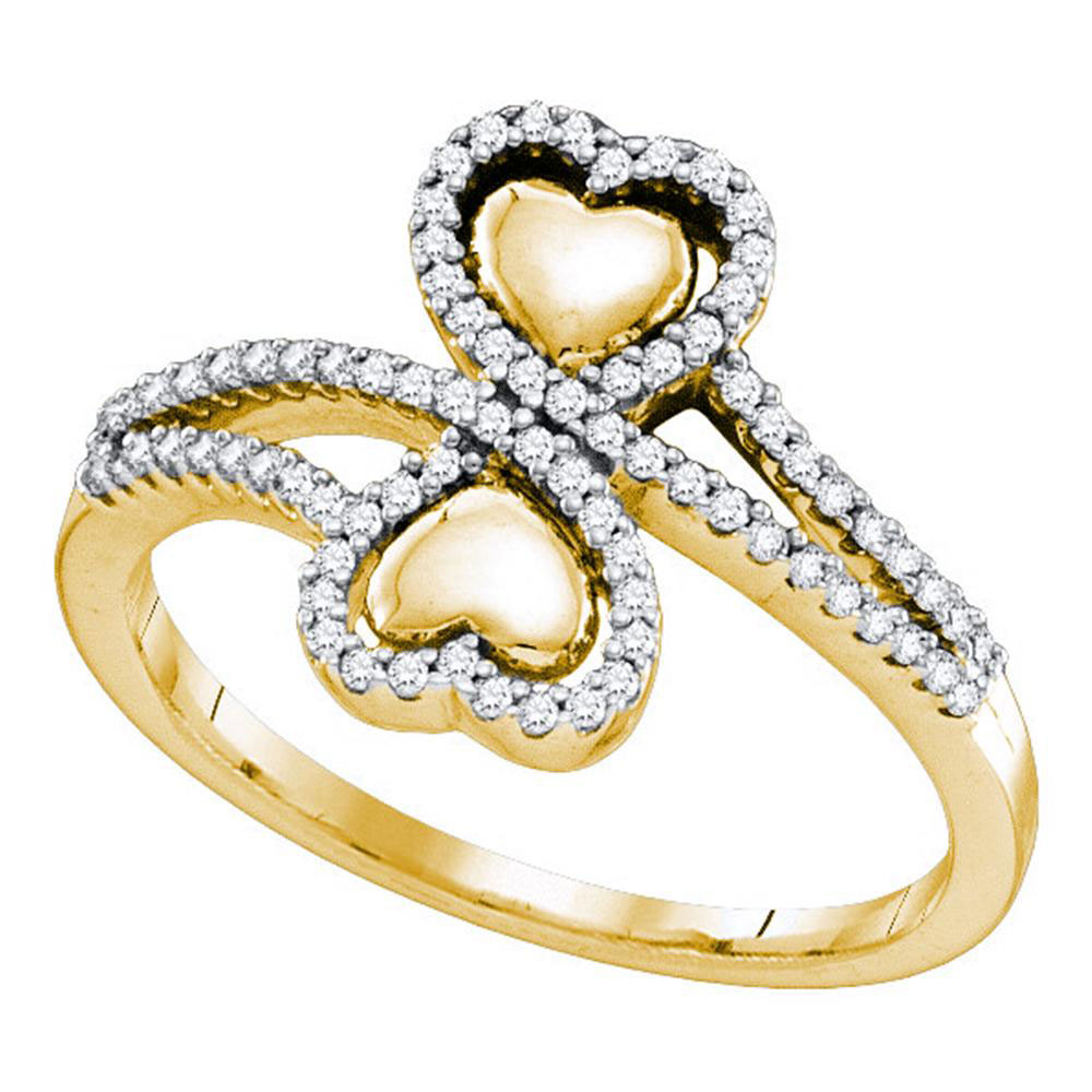 0.25 CTW Diamond Double Heart Bypass Ring 10KT Yellow Gold - REF-34K4W
