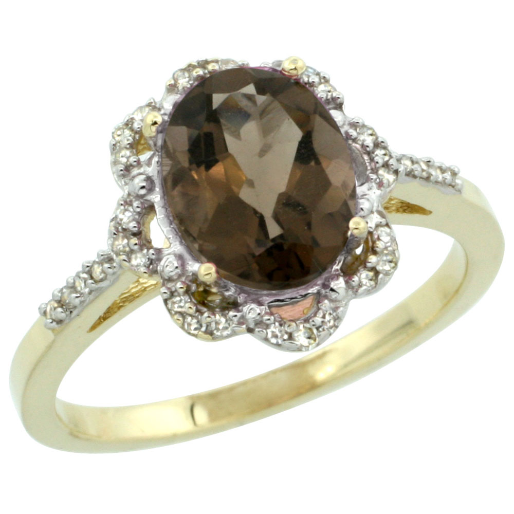 Natural 1.85 ctw Smoky-topaz & Diamond Engagement Ring 10K Yellow Gold - REF-29R3Z
