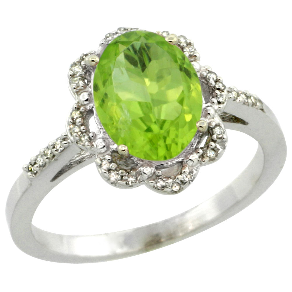 Natural 2.24 ctw Peridot & Diamond Engagement Ring 14K White Gold - REF-39A4V