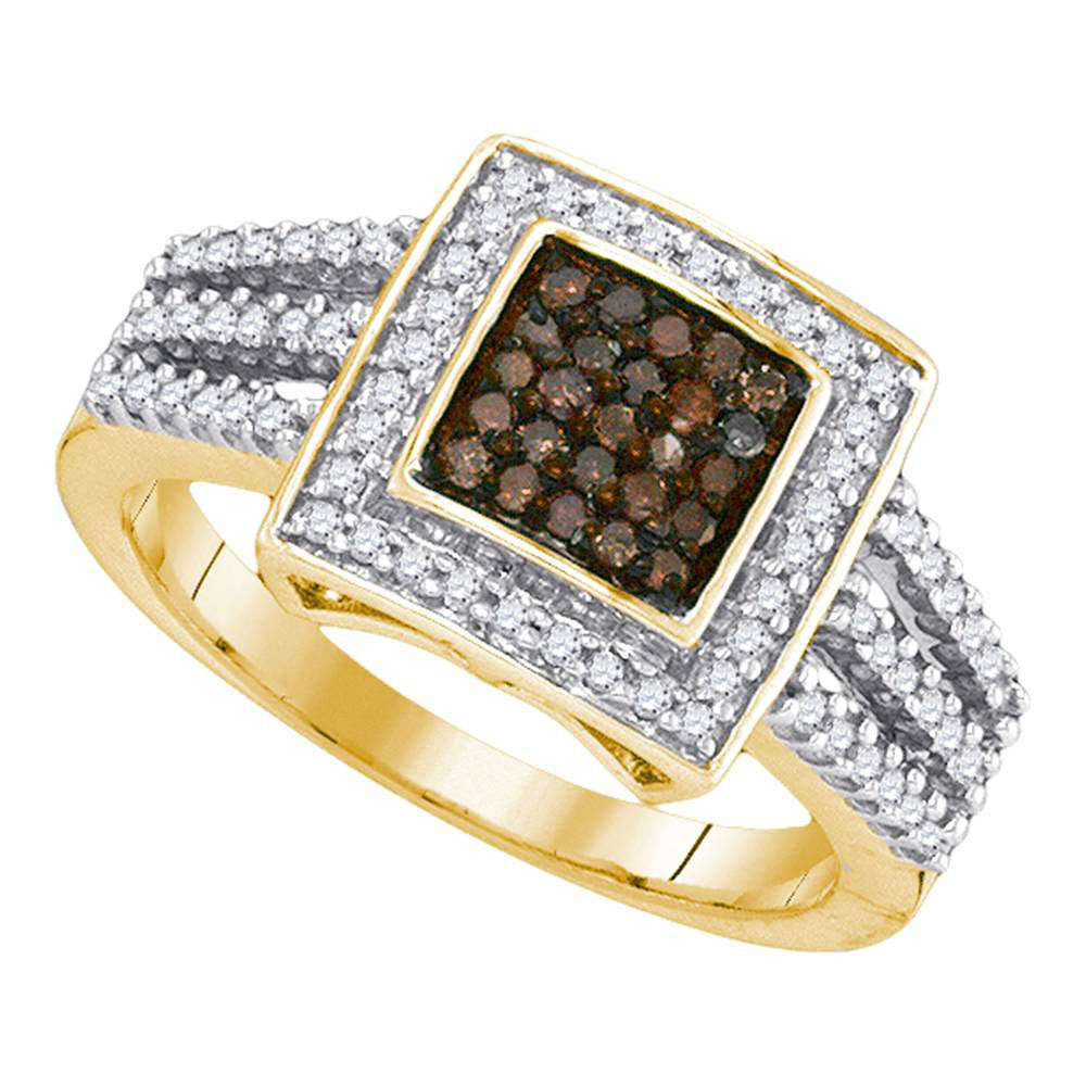 0.50 CTW Cognac-brown Color Diamond Square Cluster Ring 10KT Yellow Gold - REF-32M9H