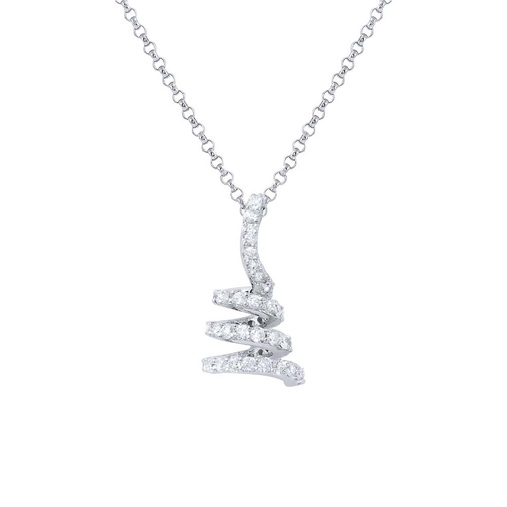 Natural 0.69 CTW Diamond Necklace 18K White Gold - REF-58F7N
