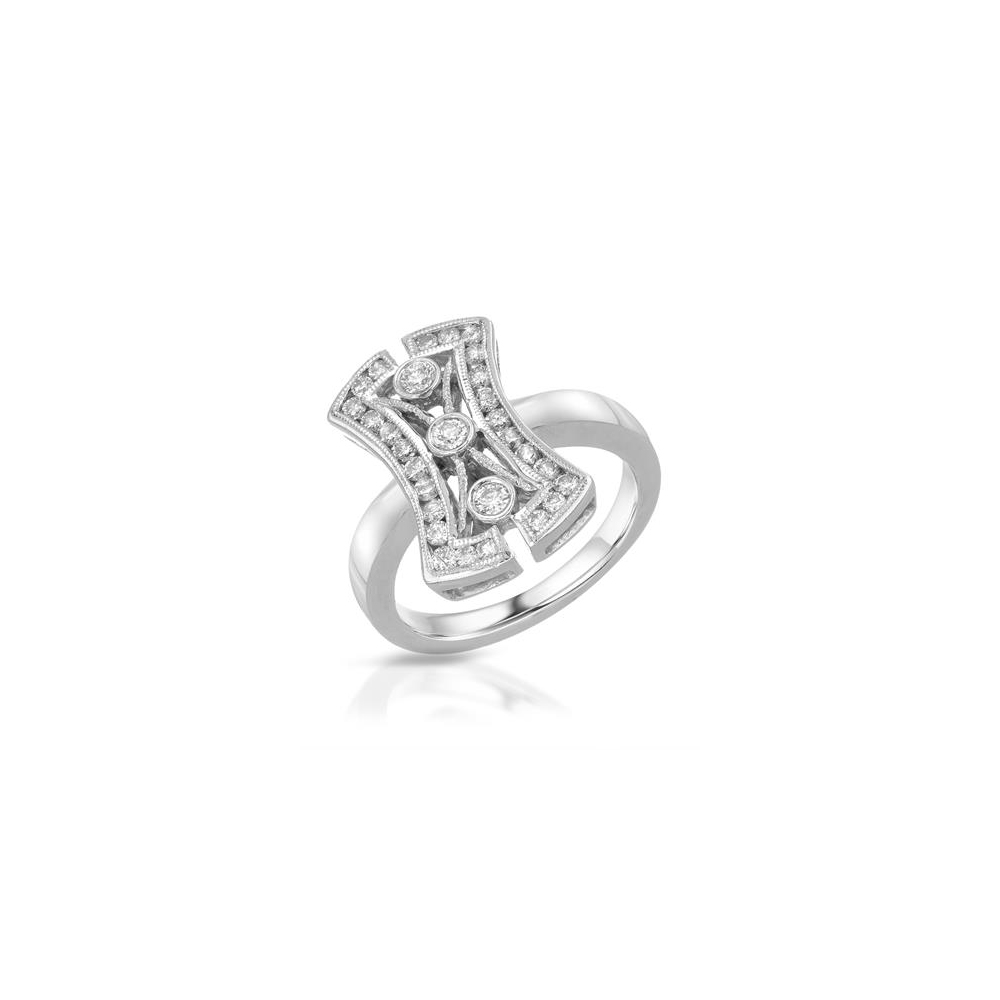 Natural 0.60 CTW Diamond Ring 14K White Gold - REF-67Y8X