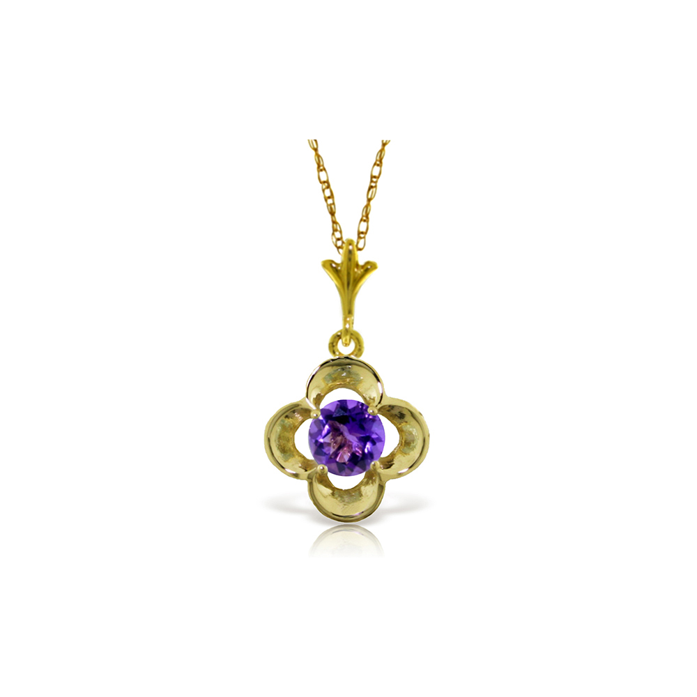 Genuine 0.55 ctw Amethyst Necklace Jewelry 14KT Yellow Gold - REF-23P6H