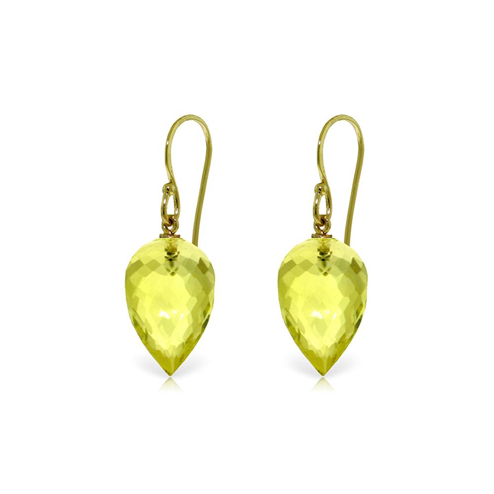 Lot 6089: Genuine 18 ctw Quartz Lemon Earrings Jewelry 14KT Yellow Gold - REF-22M2T