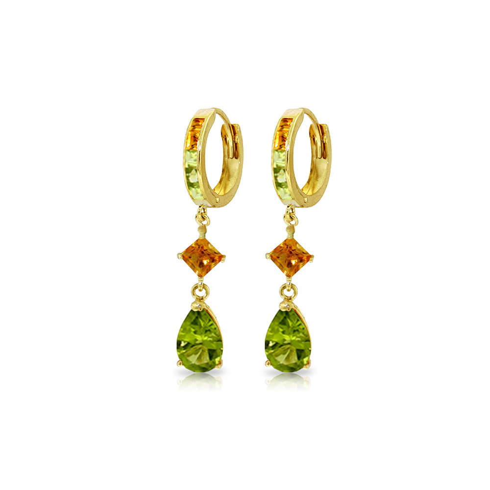 Genuine 5.15 ctw Peridot & Citrine Earrings Jewelry 14KT Yellow Gold - REF-61R8P