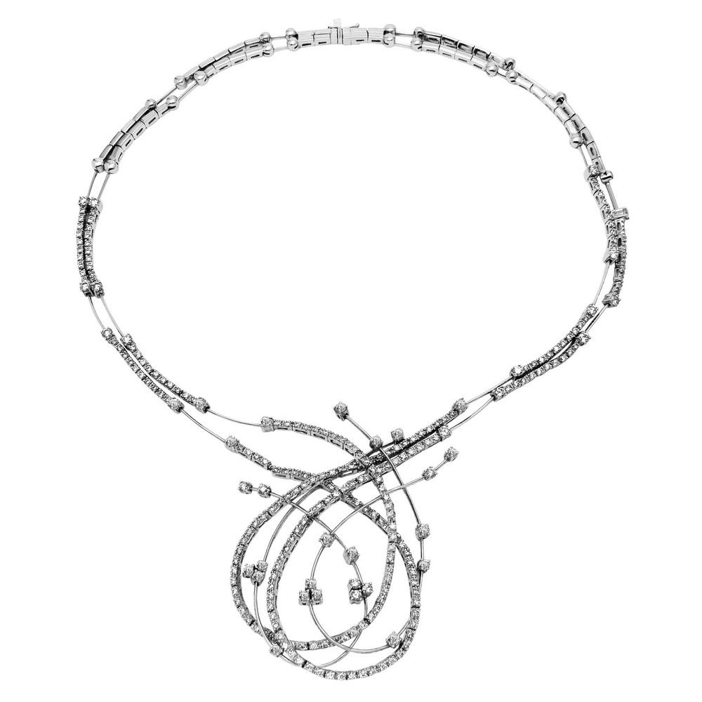 6.32 CTW Diamond Necklace 14K White Gold - REF-553R3K