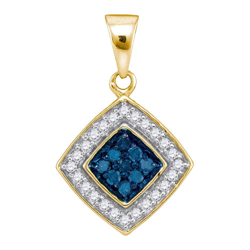 0.25 CTW Blue Color Diamond Diagonal Square Pendant 10KT Yellow Gold - REF-14M9H