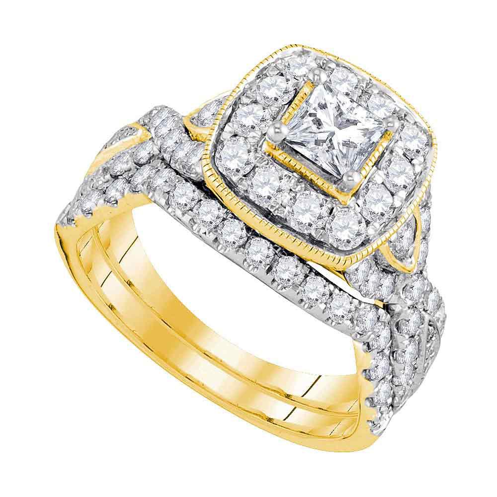 1.97 CTW Princess Diamond Bridal Engagement Ring 14KT Yellow Gold - REF-289W4K