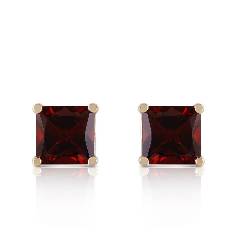 Genuine 1.75 ctw Garnet Earrings Jewelry 14KT Yellow Gold - REF-24X3M