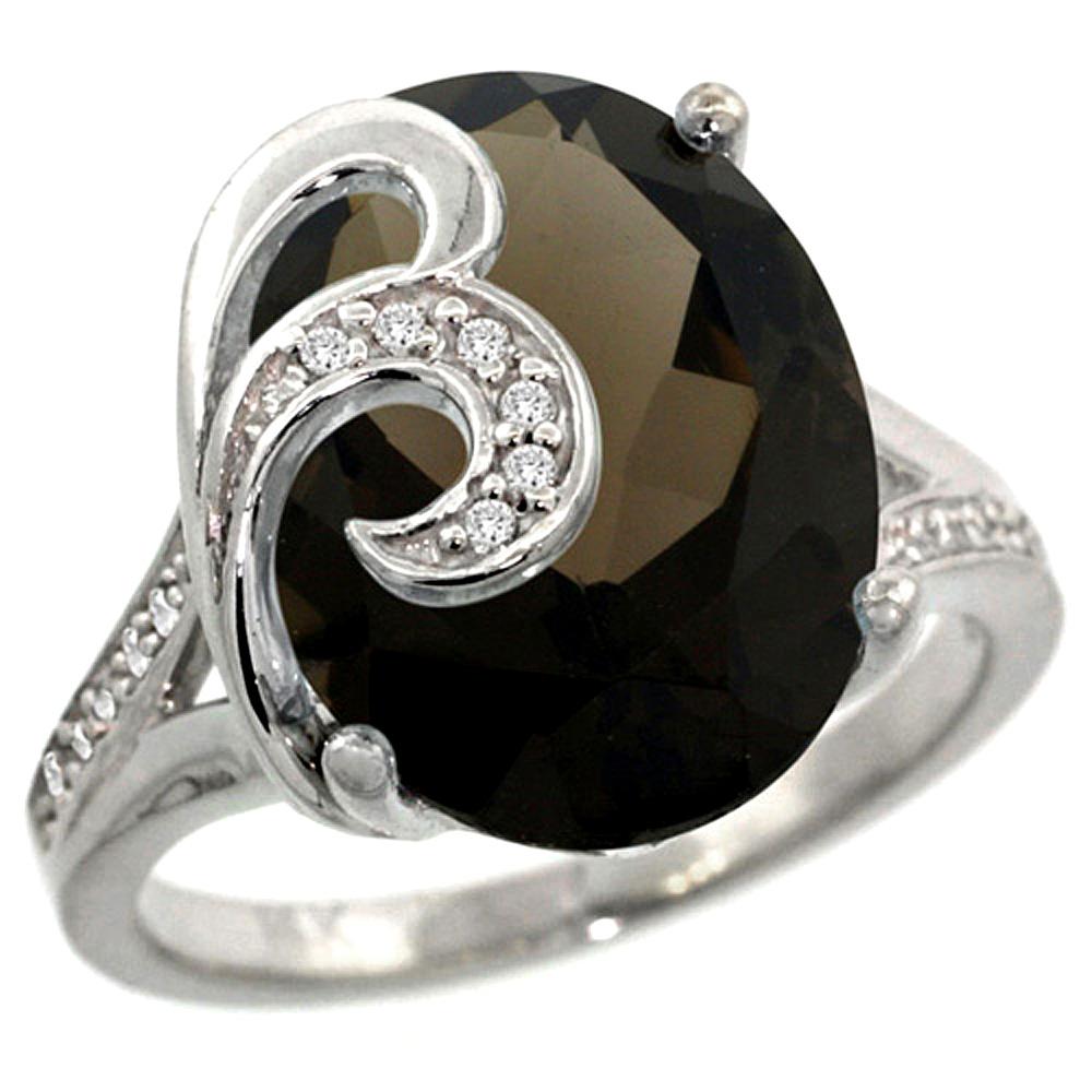 Natural 11.18 ctw smoky-topaz & Diamond Engagement Ring 14K White Gold - REF-82N2G