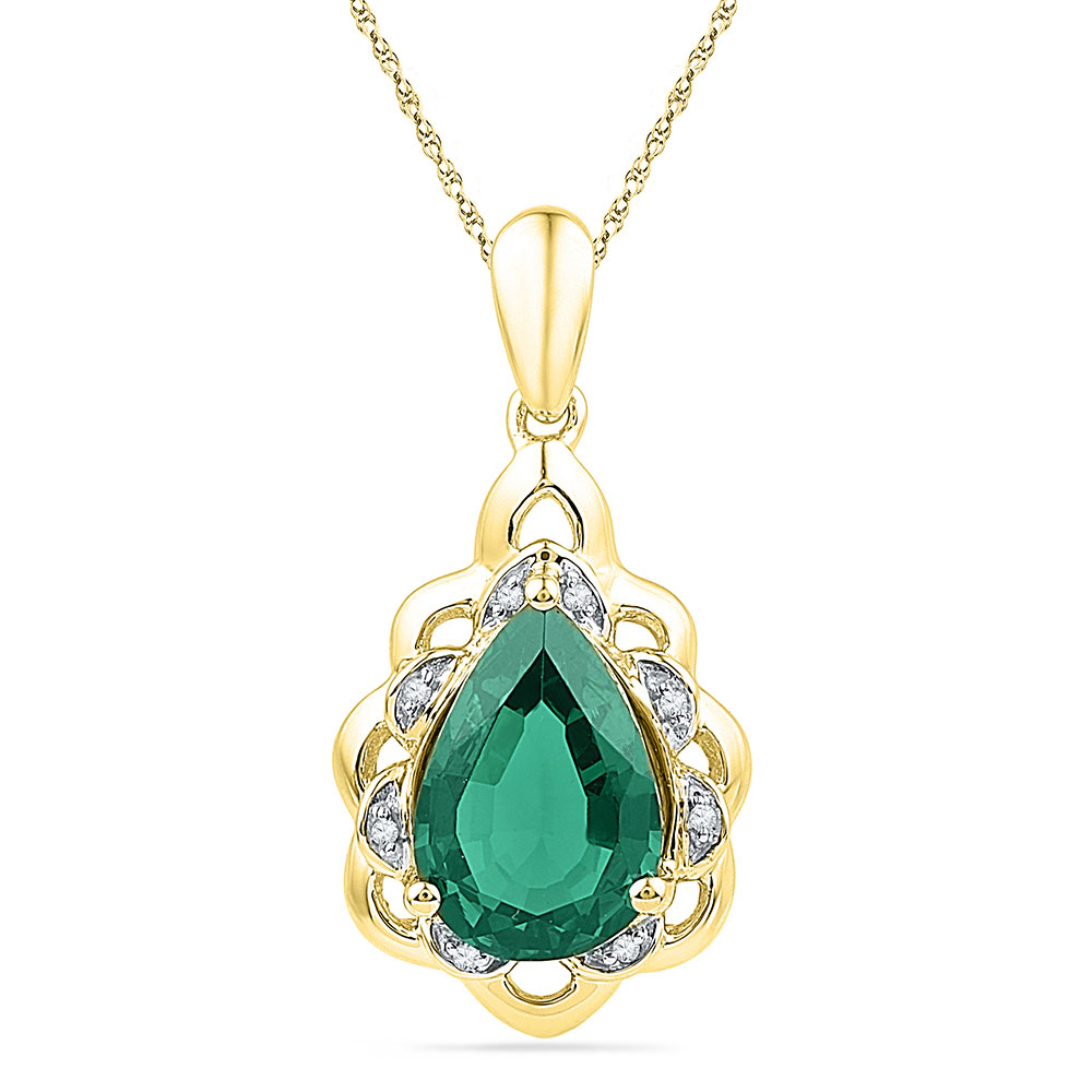 3.41 CTW Pear Created Emerald Solitaire Diamond Pendant 10KT Yellow Gold - REF-22H4M