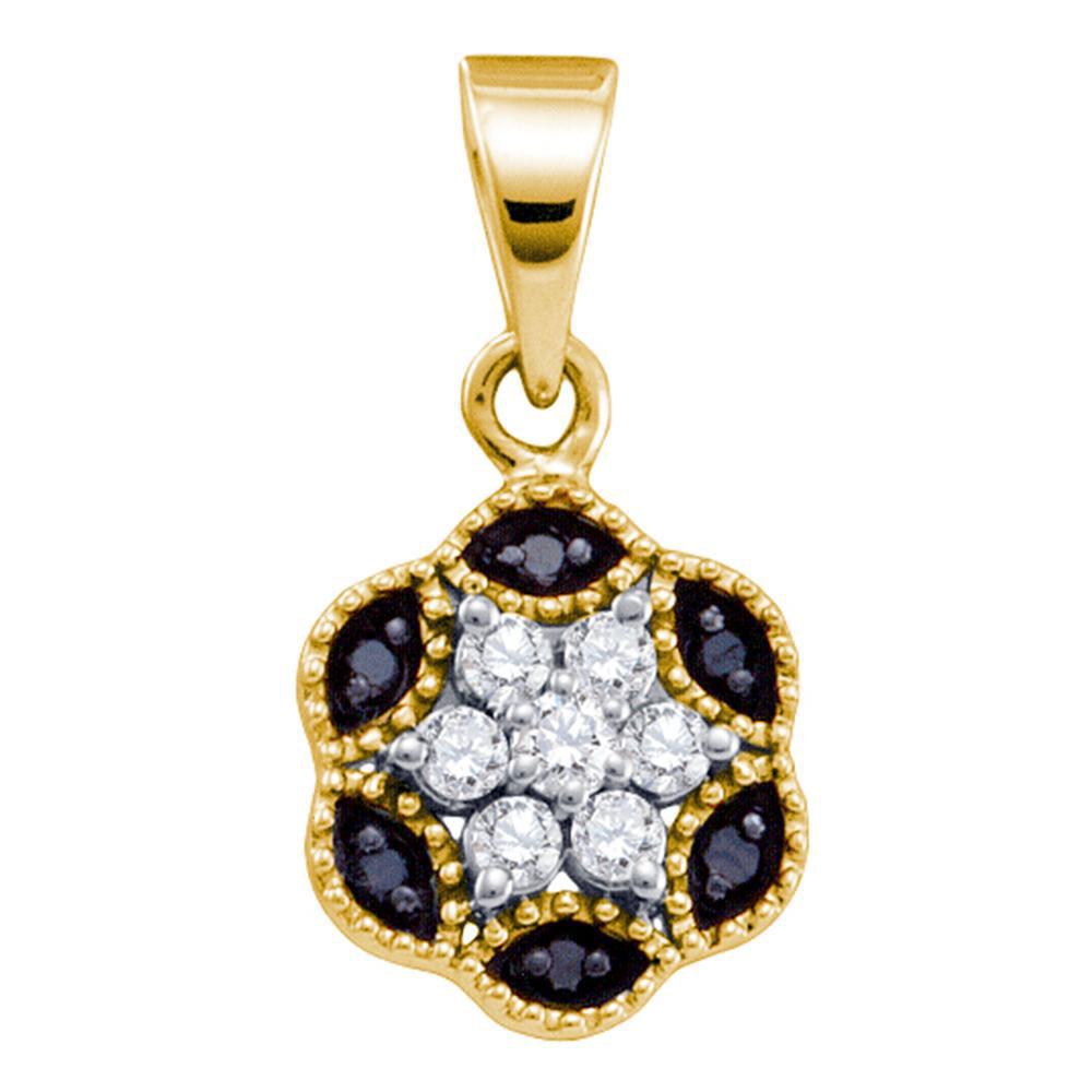 0.22 CTW Black Color Diamond Hexagon Cluster Pendant 14KT Yellow Gold - REF-14Y9X