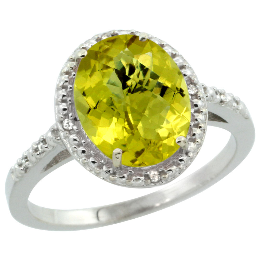 Natural 2.42 ctw Lemon-quartz & Diamond Engagement Ring 10K White Gold - REF-24Z6Y