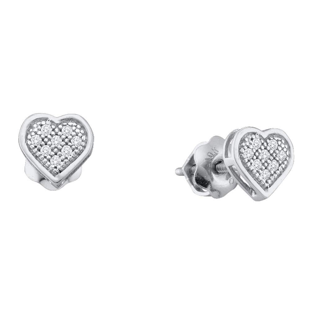 0.25 CTW Diamond Heart Screwback Earrings 10KT White Gold - REF-26X9Y