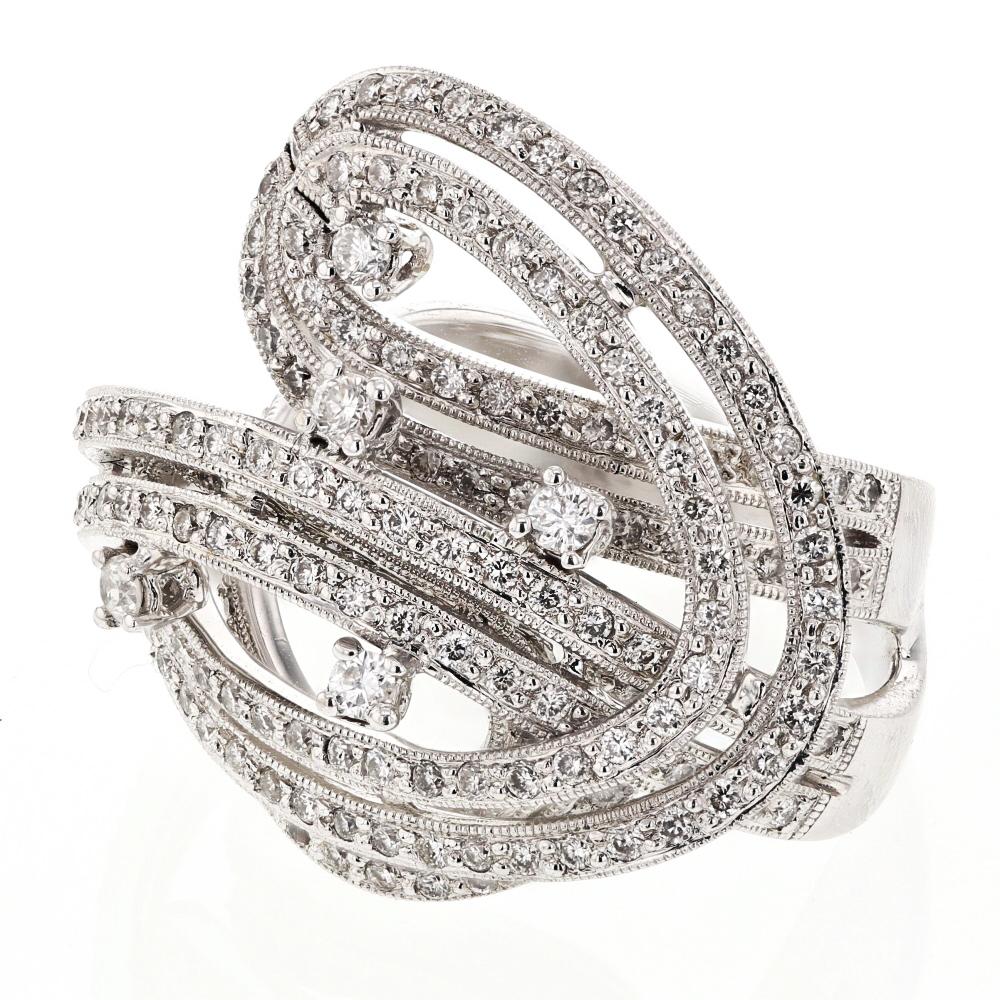 1.52 CTW Diamond Ring 18K White Gold - REF-222M9F