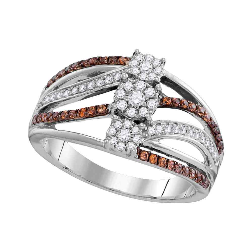 0.47 CTW Brown Color Diamond Triple Cluster Ring 10KT White Gold - REF-44K9W