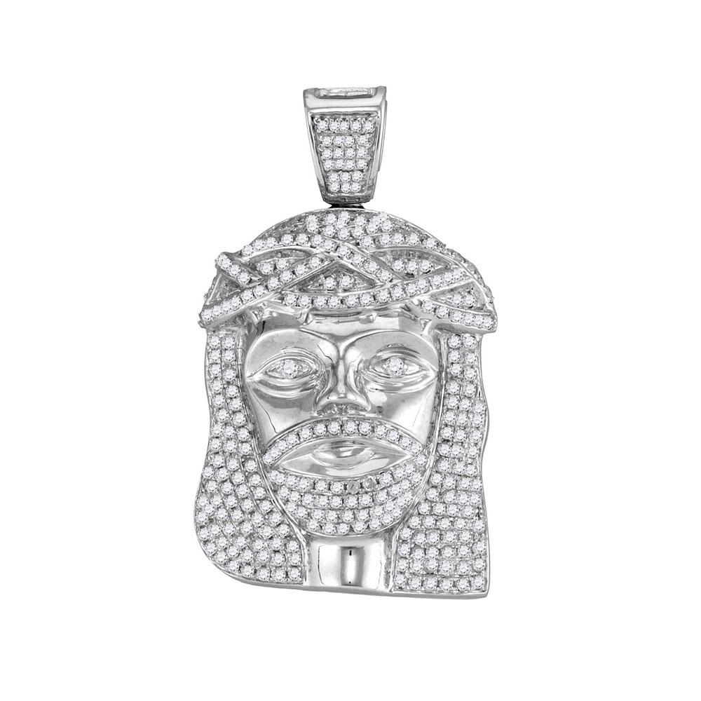 1.6 CTW Mens Diamond Jesus Christ Head Charm Pendant 10KT White Gold - REF-86M3H