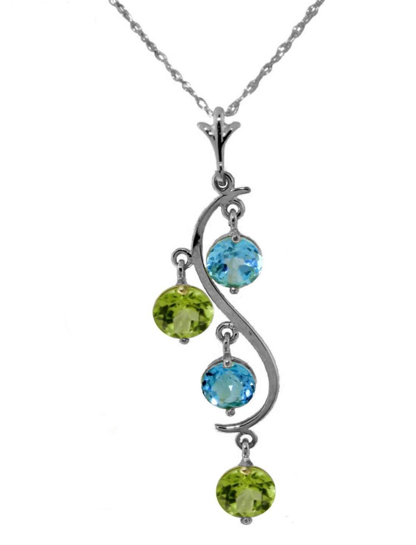 Genuine 2.3 ctw Blue Topaz Necklace Jewelry 14KT White Gold - REF-30Y2F