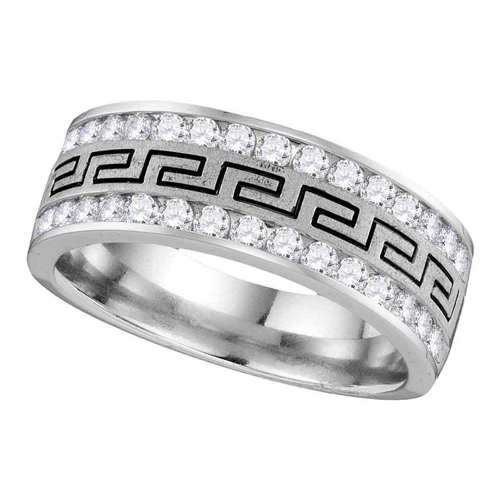 0.25 CTW Mens Diamond Grecco Wedding Ring 14KT White Gold - REF-49N5F