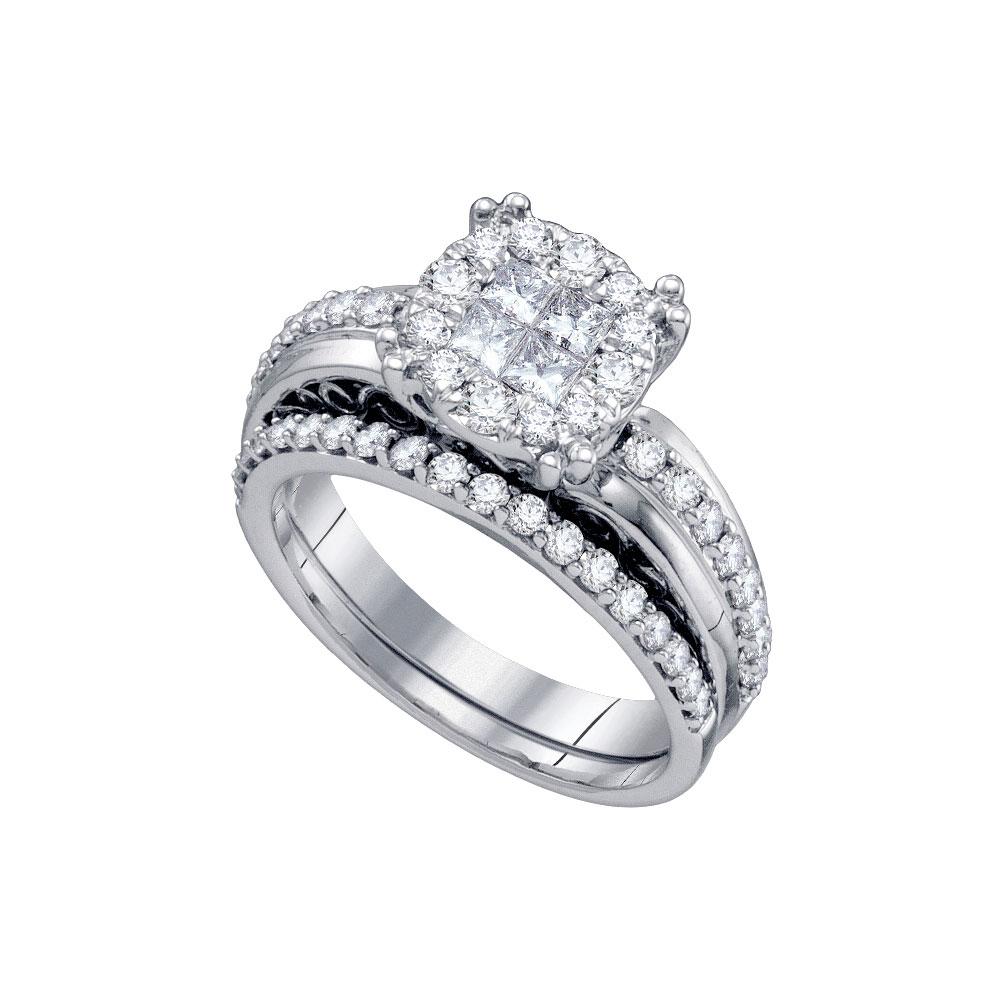 1.01 CTW Princess Diamond Soleil Bridal Engagement Ring 14KT White Gold - REF-132Y2X