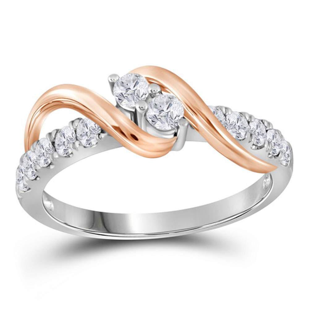 1.47 CTW Diamond 2-stone Bridal Wedding Engagement Ring 14KT Two-tone Gold - REF-187M4H