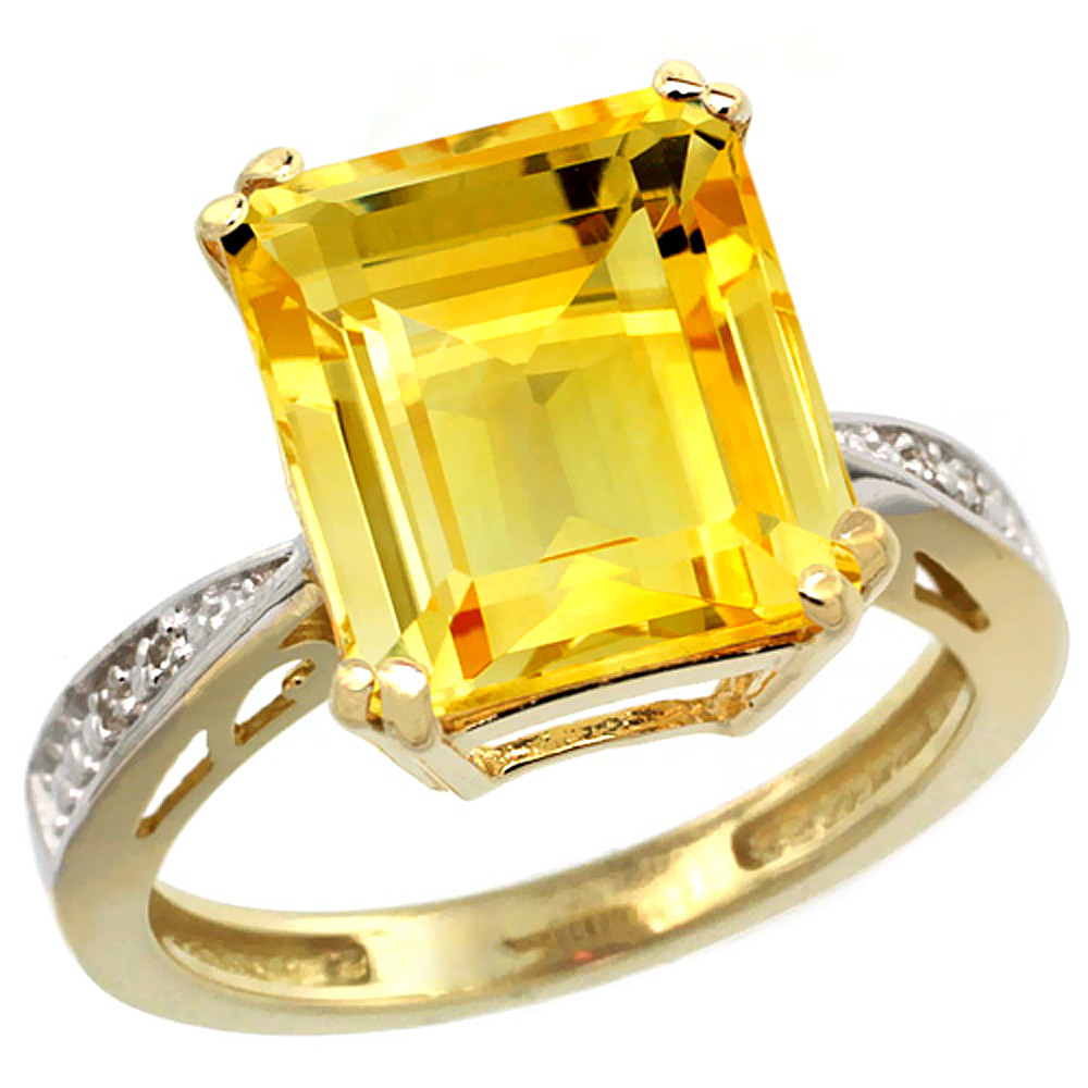 Natural 5.42 ctw Citrine & Diamond Engagement Ring 14K Yellow Gold - REF-61N9G