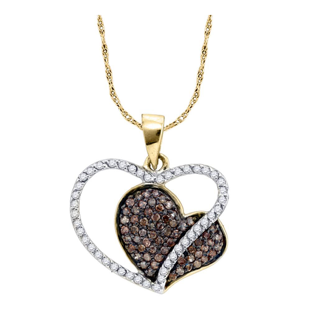 0.44 CTW Brown Color Diamond Heart Pendant 10KT Yellow Gold - REF-22Y4X
