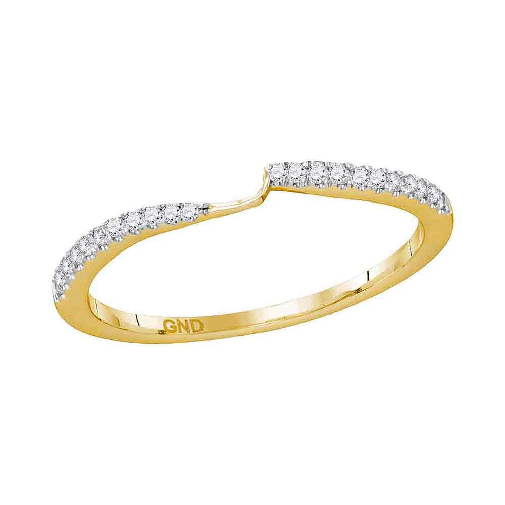 0.12 CTW Diamond 2-stone Wedding Ring 14KT Yellow Gold - REF-19K4W