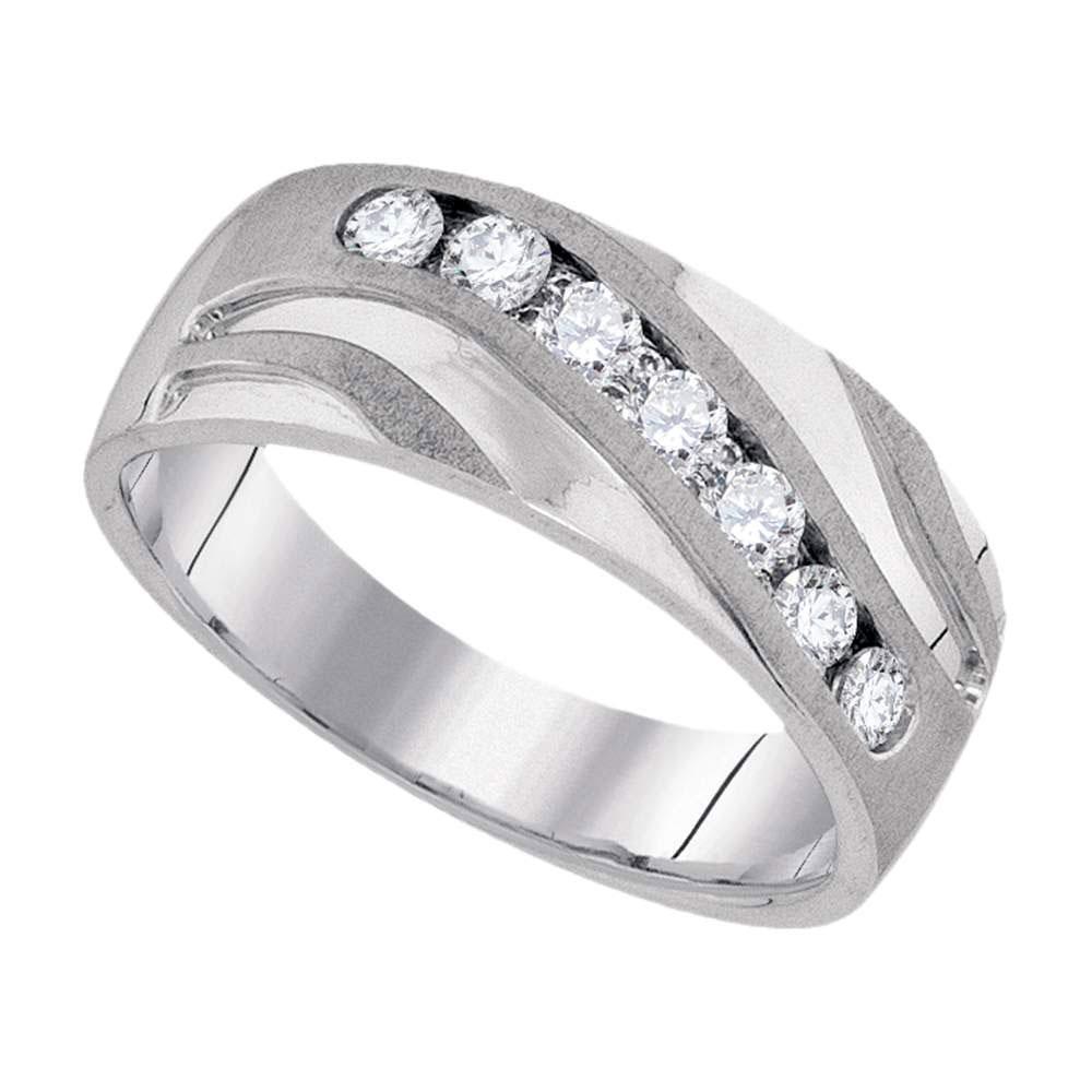 0.50 CTW Mens Diamond Wedding Ring 10KT White Gold - REF-63F8N