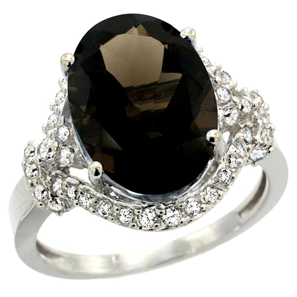 Natural 5.89 ctw smoky-topaz & Diamond Engagement Ring 14K White Gold - REF-88W8K