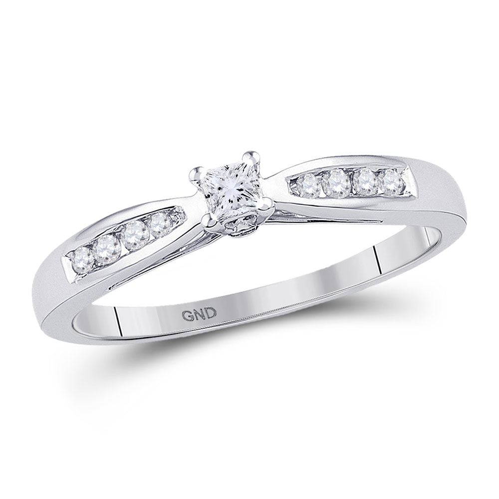 0.20 CTW Diamond Solitaire Bridal Ring 10KT White Gold - REF-24W2K