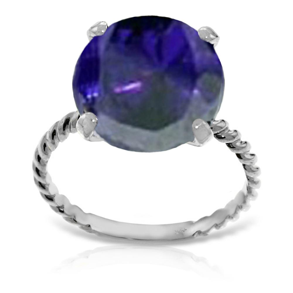 Genuine 9.8 ctw Sapphire Ring Jewelry 14KT White Gold - REF-88Z8N