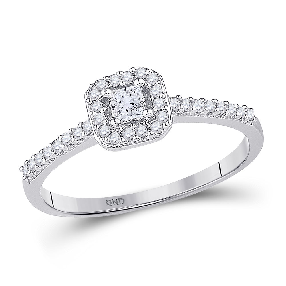0.25 CTW Princess Diamond Solitaire Square Halo Bridal Ring 10KT White Gold - REF-22W4K