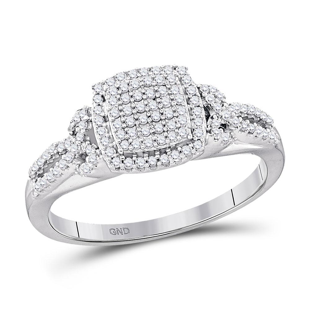 0.33 CTW Diamond Square Cluster Bridal Engagement Ring 10KT White Gold - REF-30M2H
