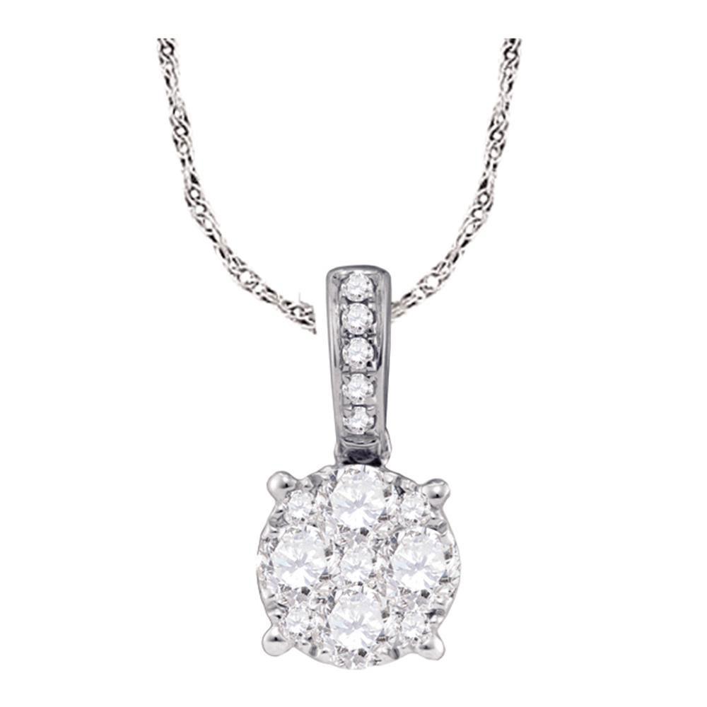0.48 CTW Diamond Cluster Pendant 18KT White Gold - REF-97F4N