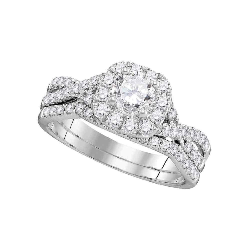1 CTW Diamond Halo Bridal Engagement Ring 14KT White Gold - REF-172M4H