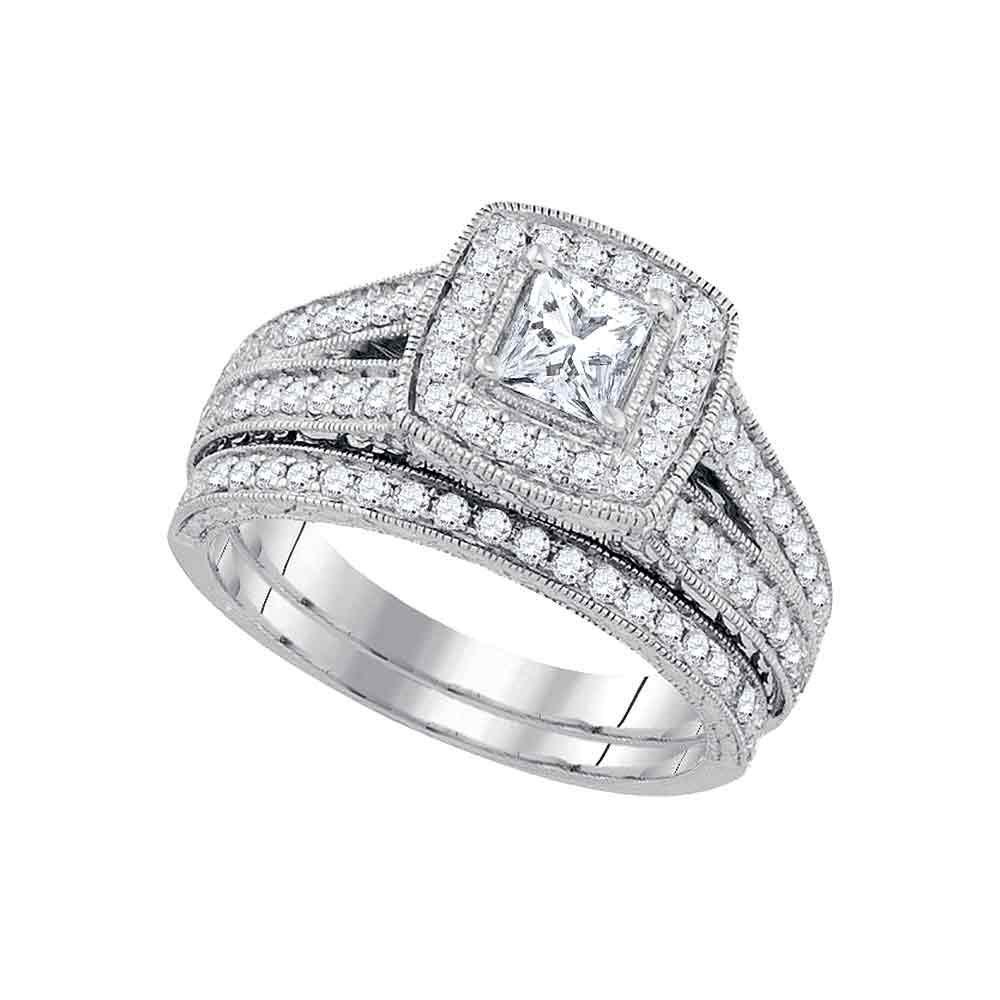 1.25 CTW Princess Diamond Halo Bridal Engagement Ring 14KT White Gold - REF-224W9K