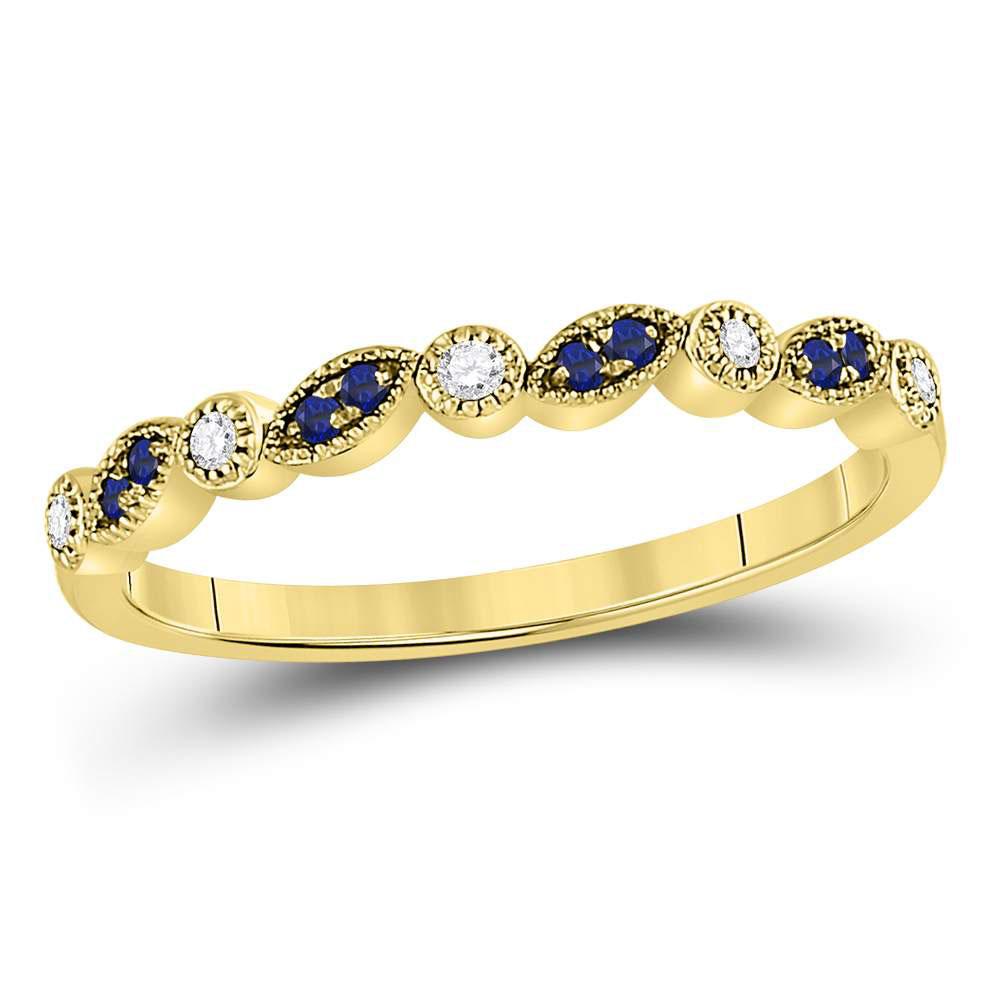 0.11 CTW Blue Sapphire & Diamond Ring 10KT Yellow Gold - REF-18X3F