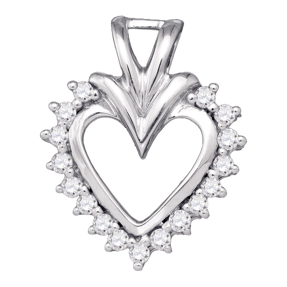 0.24 CTW Diamond Open-center Heart Pendant 10KT White Gold - REF-25X4Y