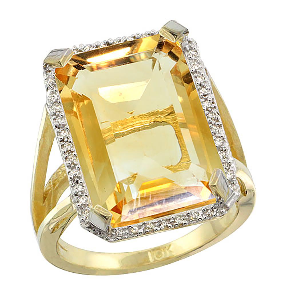 Natural 13.72 ctw Citrine & Diamond Engagement Ring 10K Yellow Gold - REF-65N2G