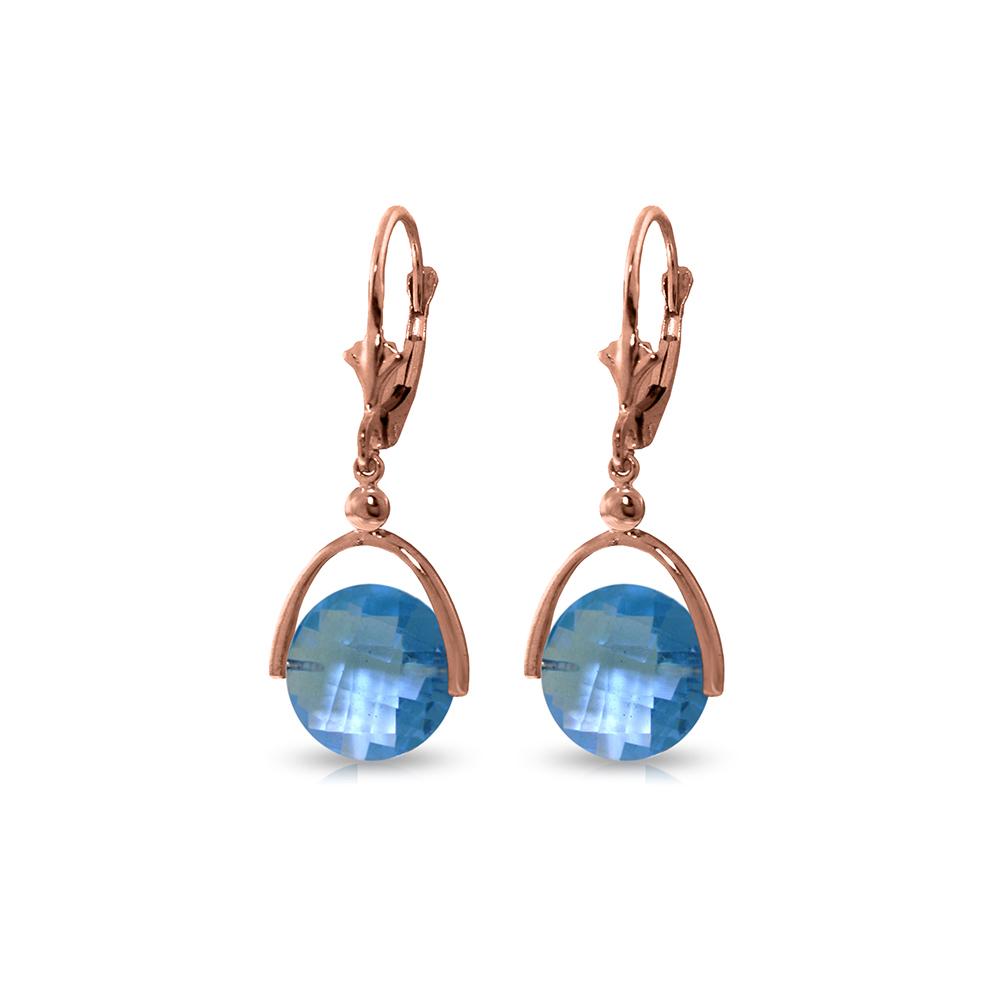 Genuine 6.5 ctw Blue Topaz Earrings Jewelry 14KT Rose Gold - REF-43M4T