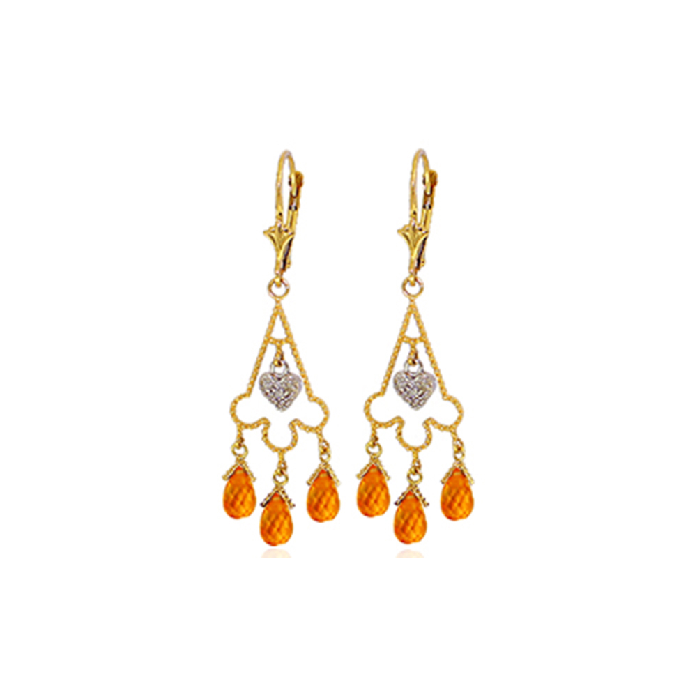 Genuine 4.23 ctw Citrine & Diamond Earrings Jewelry 14KT Yellow Gold - REF-52W3Y