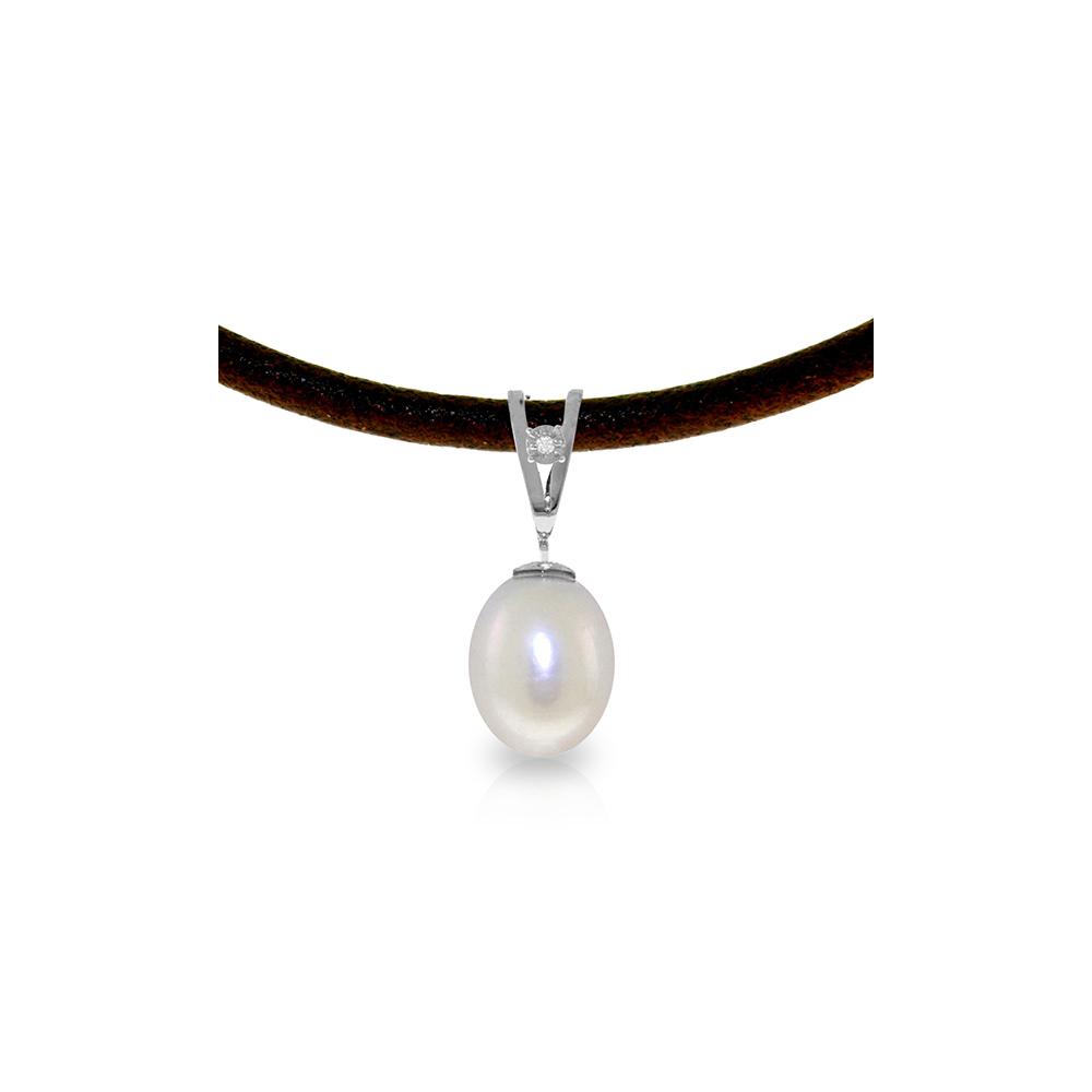 Genuine 4.01 ctw Pearl & Diamond Necklace Jewelry 14KT White Gold - REF-23A6K