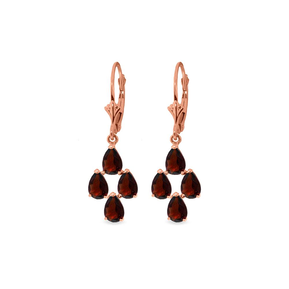 Genuine 4.5 ctw Garnet Earrings Jewelry 14KT Rose Gold - REF-41K2V