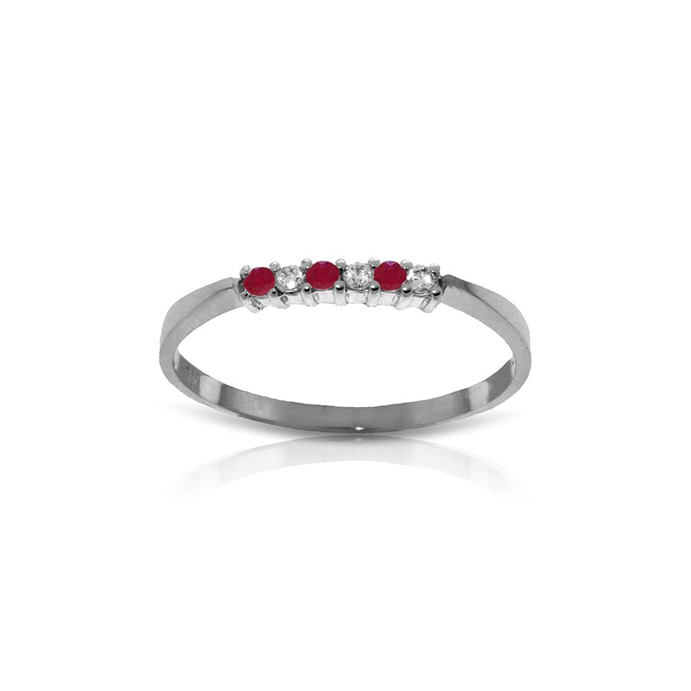 Genuine 0.11 ctw Ruby & Diamond Ring Jewelry 14KT White Gold - REF-27W5Y