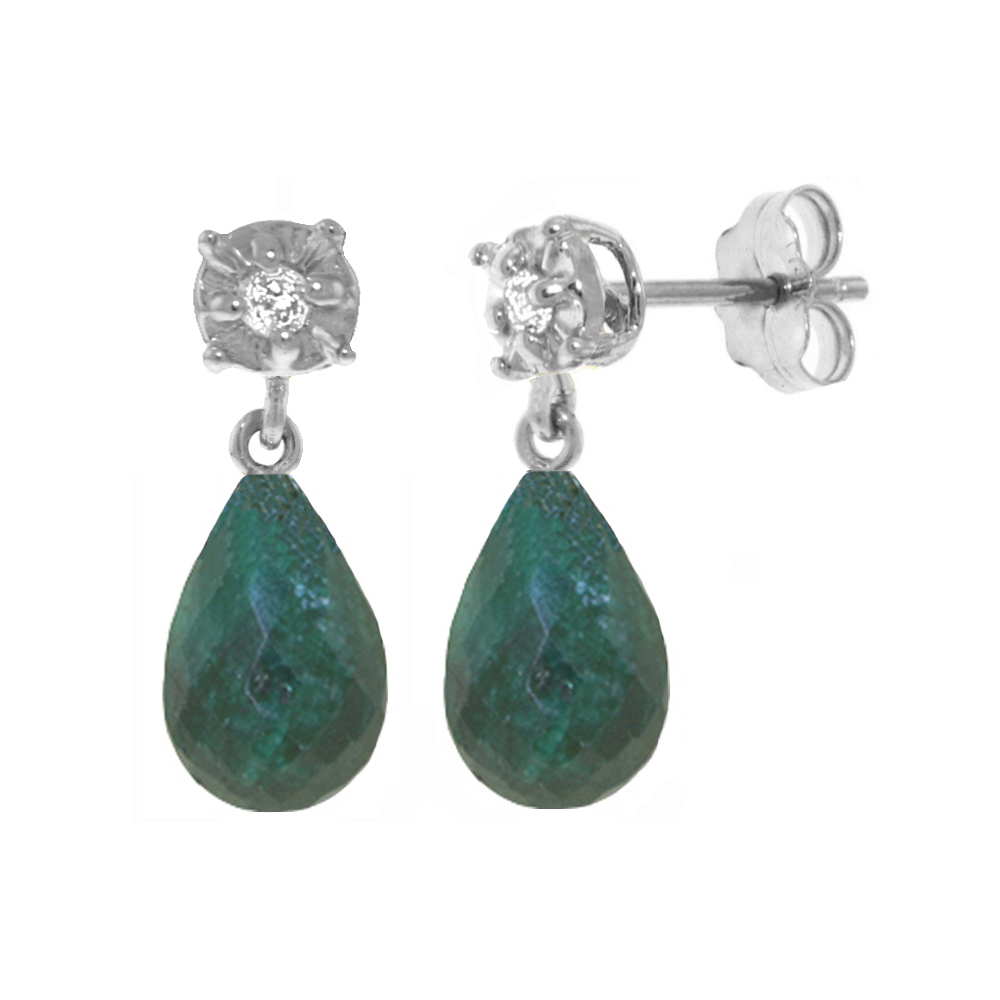 Genuine 17.66 ctw Green Sapphire Corundum & Diamond Earrings Jewelry 14KT White Gold - REF-37V4W