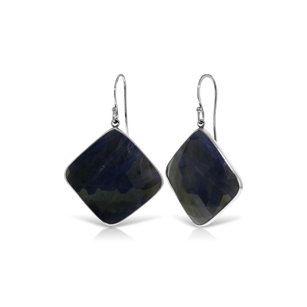 Genuine 43.5 ctw Sapphire Earrings Jewelry 14KT White Gold - REF-114F3Z