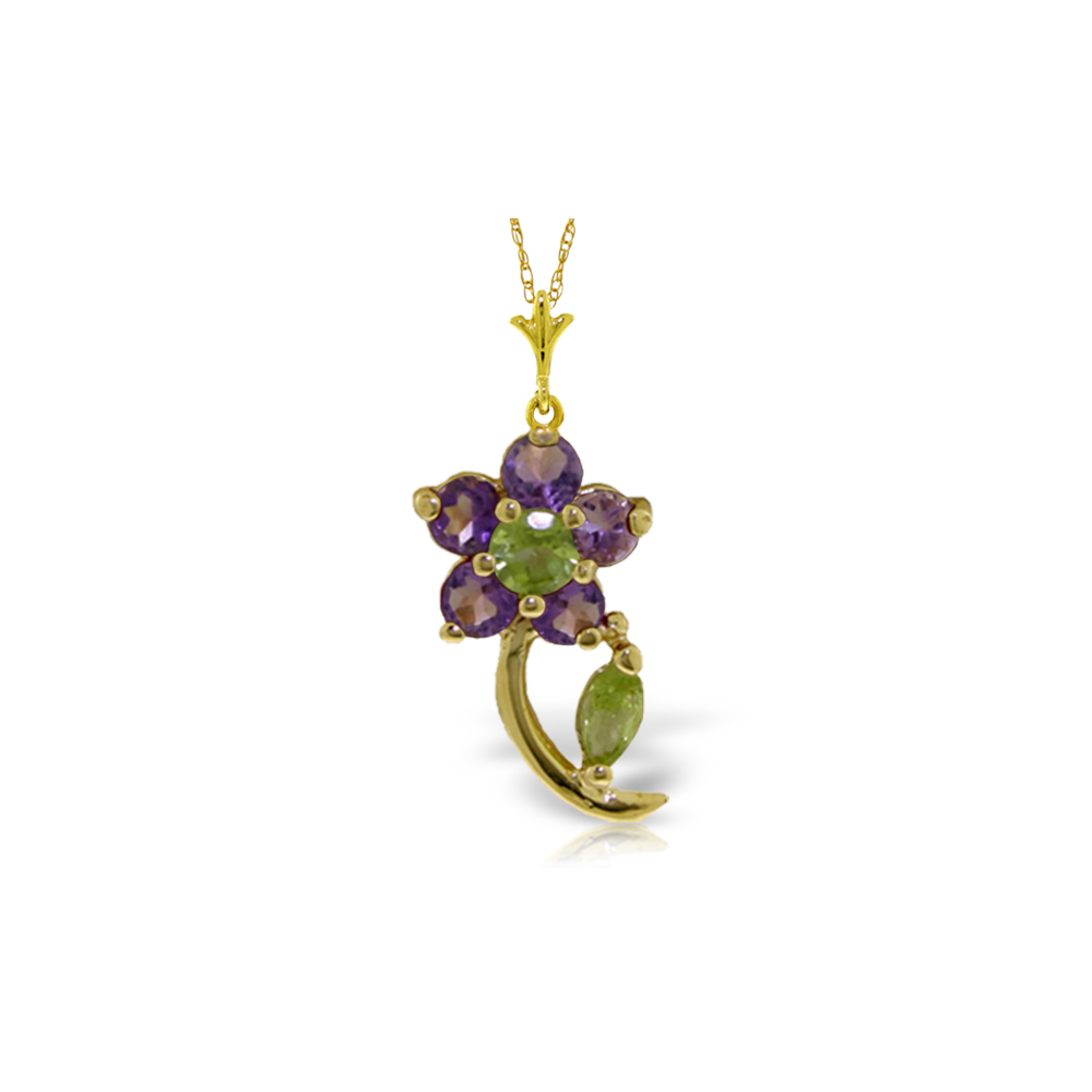 Genuine 0.87 ctw Peridot & Amethyst Necklace Jewelry 14KT Yellow Gold - REF-25A4K
