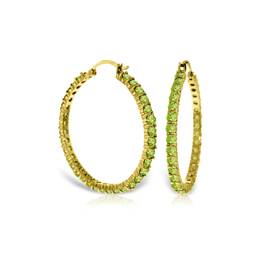 Genuine 6 ctw Peridot Earrings Jewelry 14KT Yellow Gold - REF-104Z8N